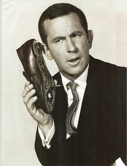 Maxwell Smart on his Shoe Phone