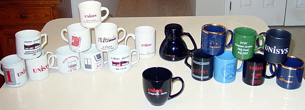 Coffee Mugs from Unisys Corporation, collected over a quarter of a century