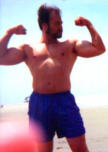 Me clowning around at the beach back in the 90s